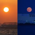 空と海のショー60分! スーパームーンの東京湾岸、実は夕日も美しかった件