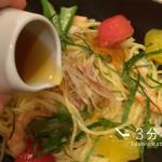 夏こそ食べたい冷たいパスタ「夏野菜と海老、おだしのジュレ添え」@大阪
